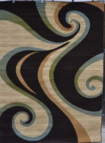 Brown Beige Blue Green Large Swirl 5x7 Contemporary Area
