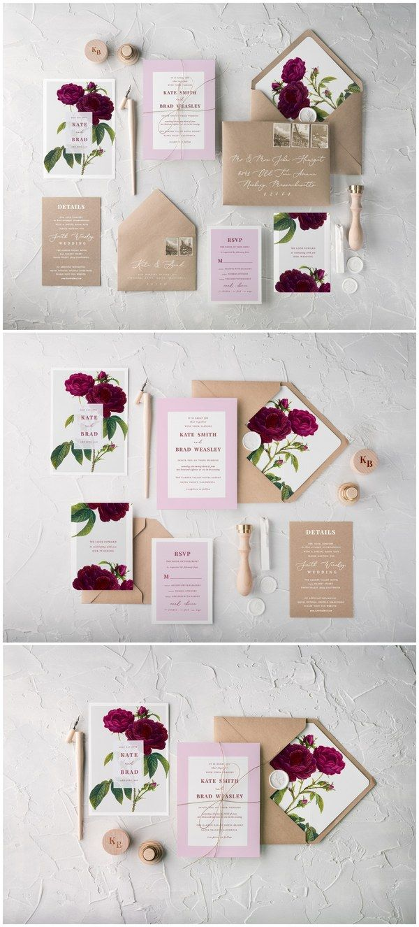 Maroon and Pink Roses Calligraphy Wedding Invitations