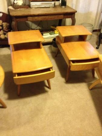 Heywood And Wakefield Wheat STEP END TABLES With Full Length Drawer (2)  :$275