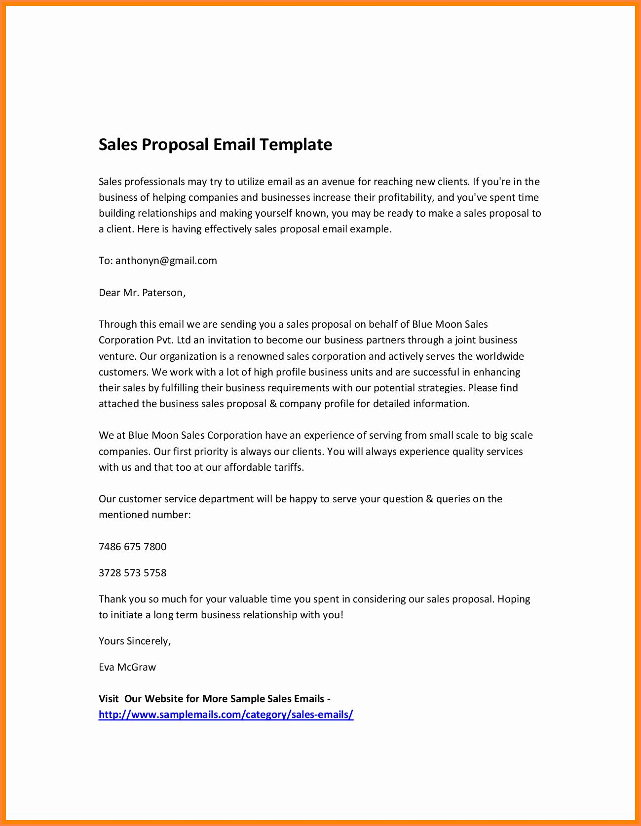 Business Proposal Email Template In 2020 Sales Proposal