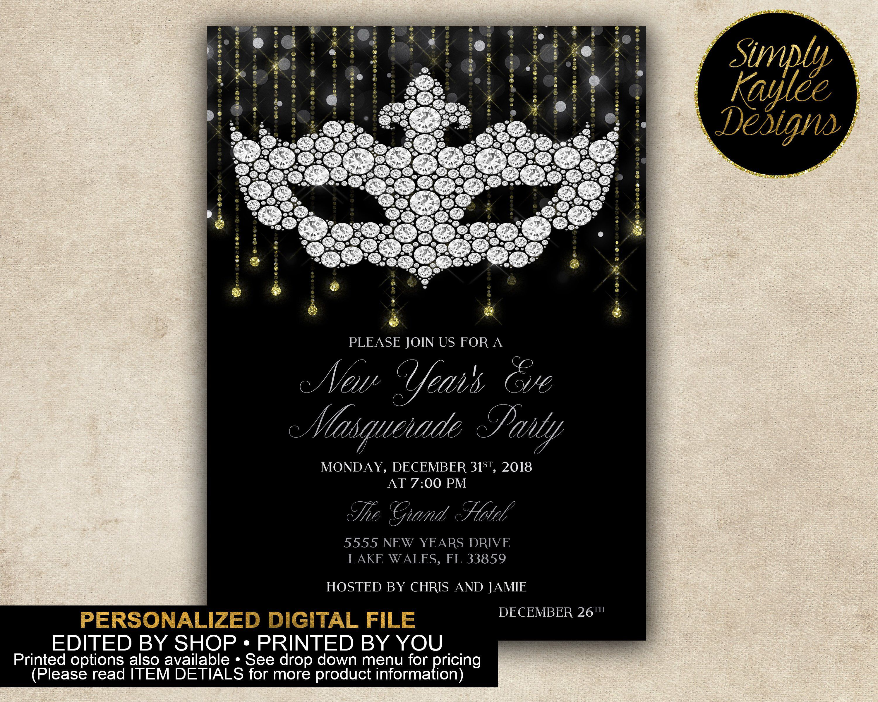 New Year S Eve Masquerade Party Invitation By Simplykayleedesigns On Etsy Https Www Etsy Masquerade Party Invitations Masquerade Invitations Masquerade Party