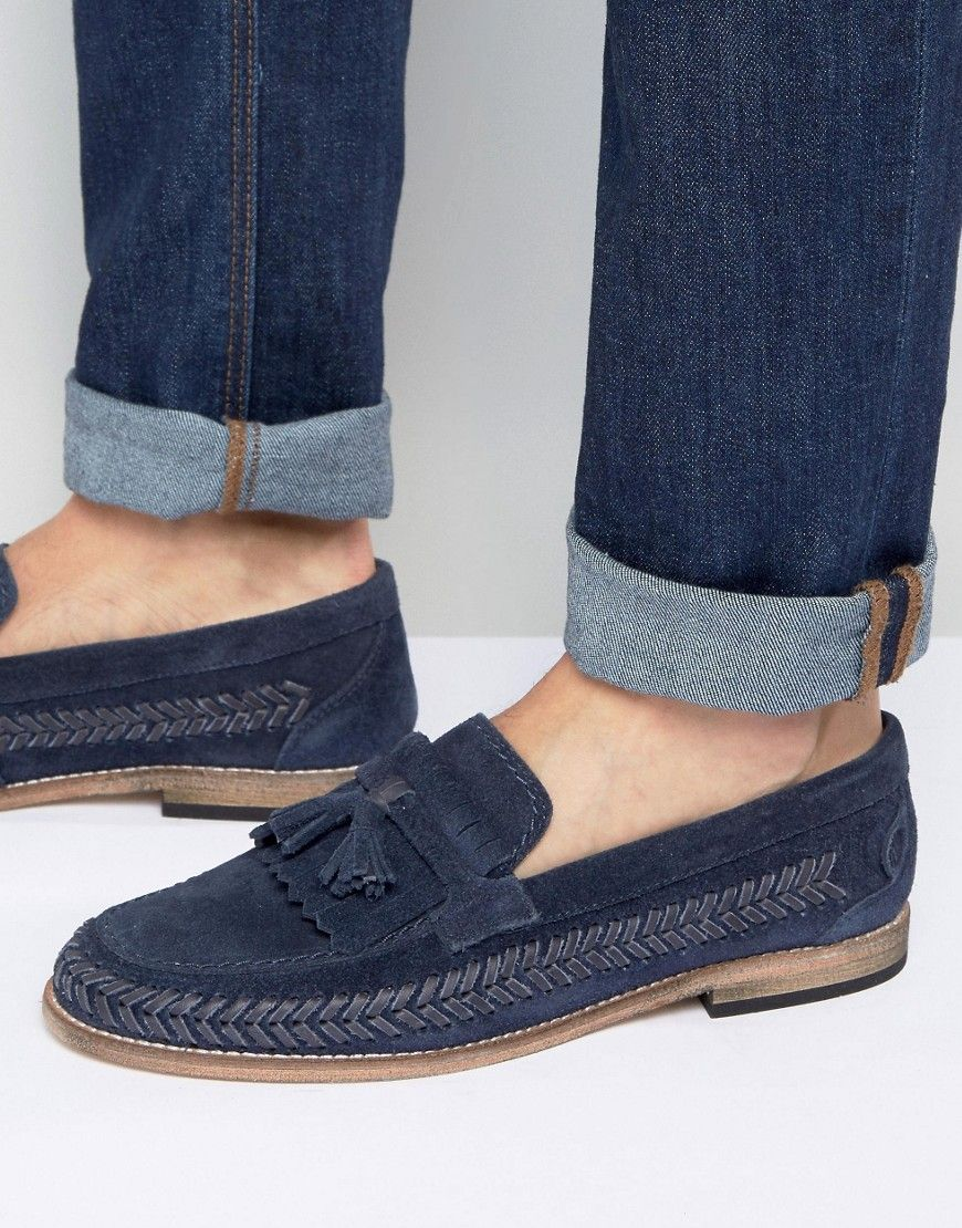 HUDSON LONDON ZAIR SUEDE TASSEL LOAFERS - NAVY. #hudsonlondon #shoes #