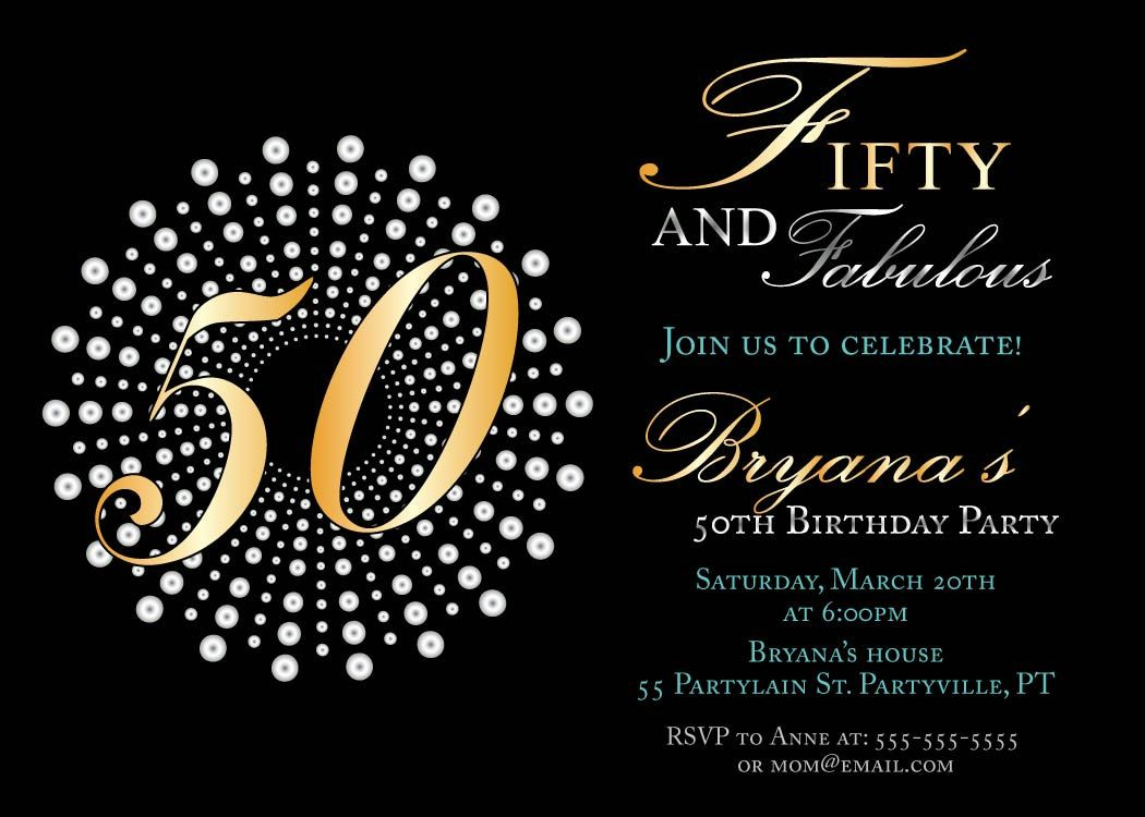 Fifty and fabulous birthday invitations, 50th birthday party ...