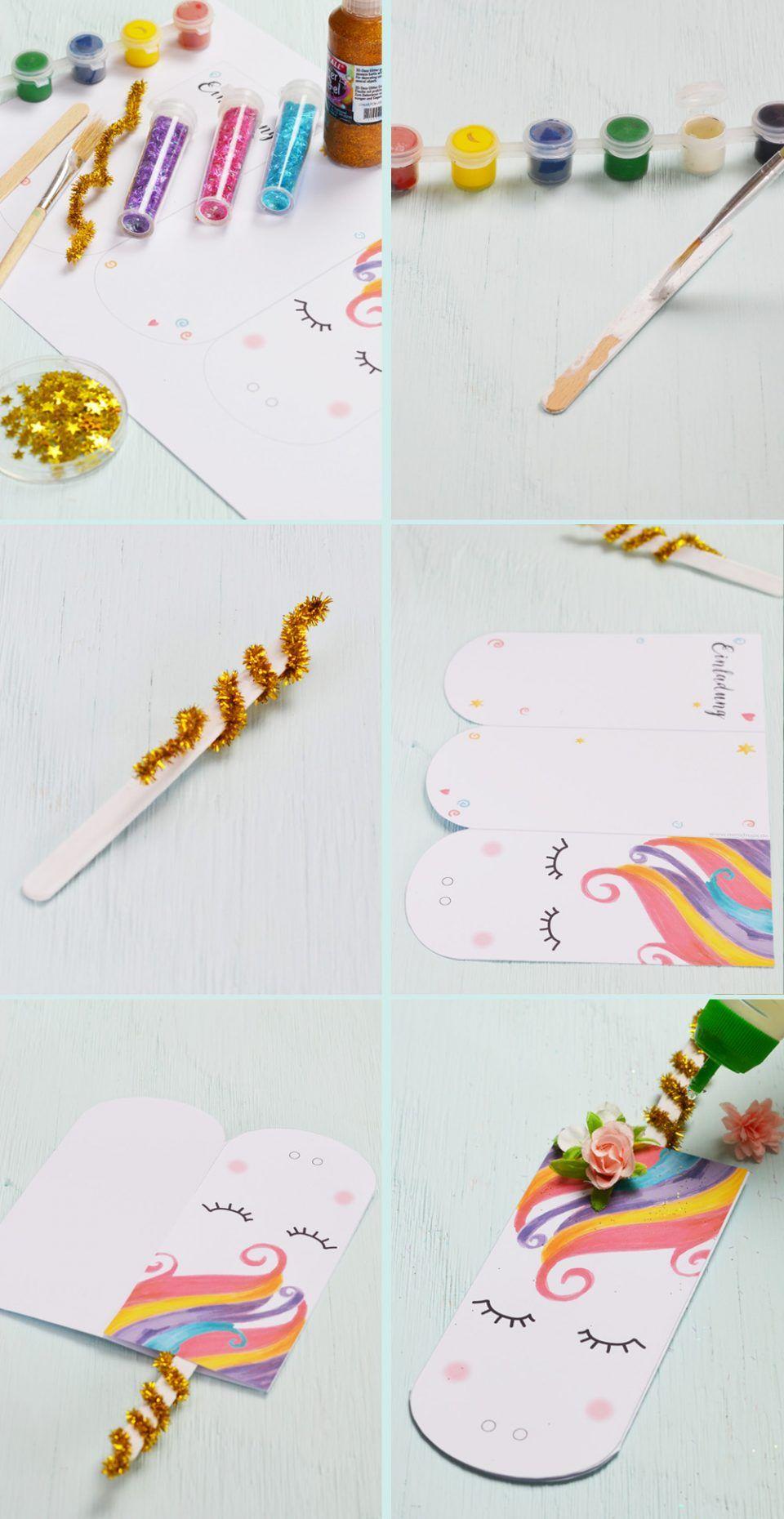 Süße Einhorn Einladungskarte zum Ausdrucken • Minidrops