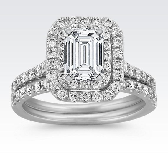 2,295 Emerald Cut Double Halo Wedding Set with Round Diamond Accents