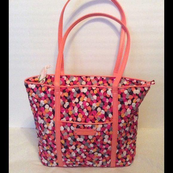 1f03cfcc4a Very Bradley Tote Bag Pixie Confetti NWT Vera Bradley Small Trim Tote Bag  in Rio. Signature cotton with solid faux leather trim. Recessed zip-top  closure.