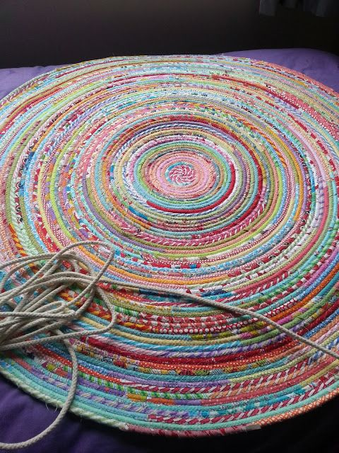 Fabric And Rope Rug Tutorial Rope Rug Fabric Rug