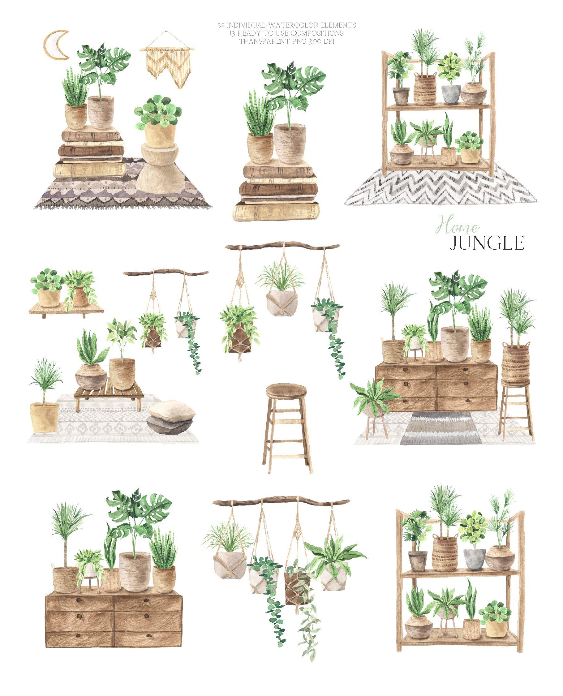 Boho Plant Home Clipart Watercolor House Potted Plant Png Etsy In 2021 Watercolor Plants House Clipart Watercolor