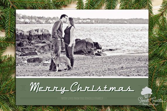 Retro Merry Christmas Card with Photo by SweetTreatsPaper on Etsy, $32.00