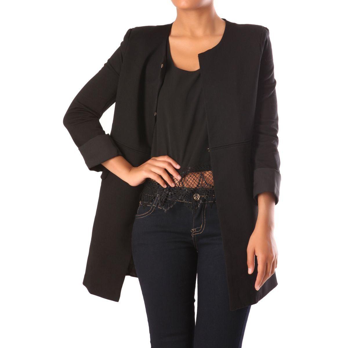 Vêtements Noir Coupe Modeuse Droite La Longue Mi Veste p0FxxqgY