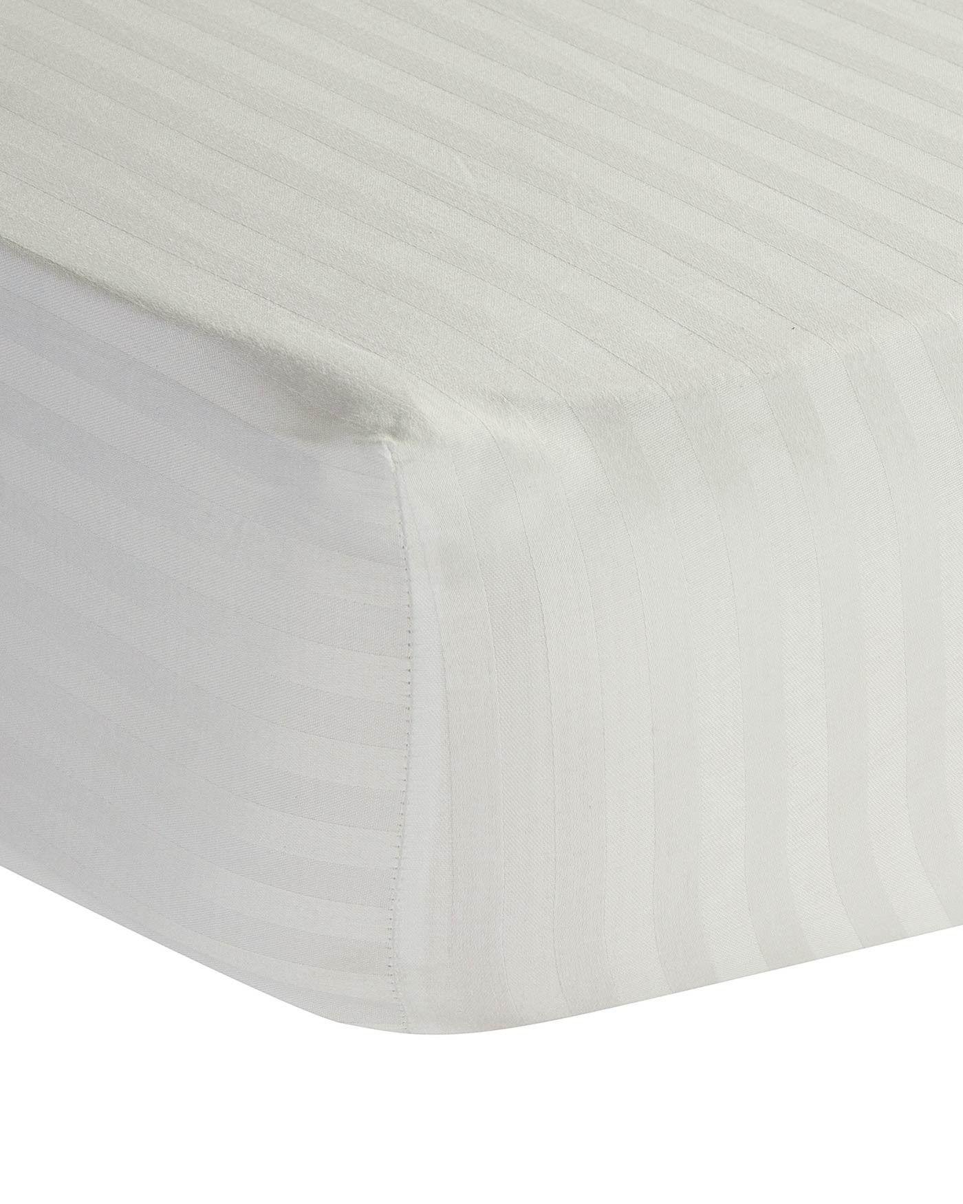 white egyptian cotton satin stripe fitted sheet 330 tc single