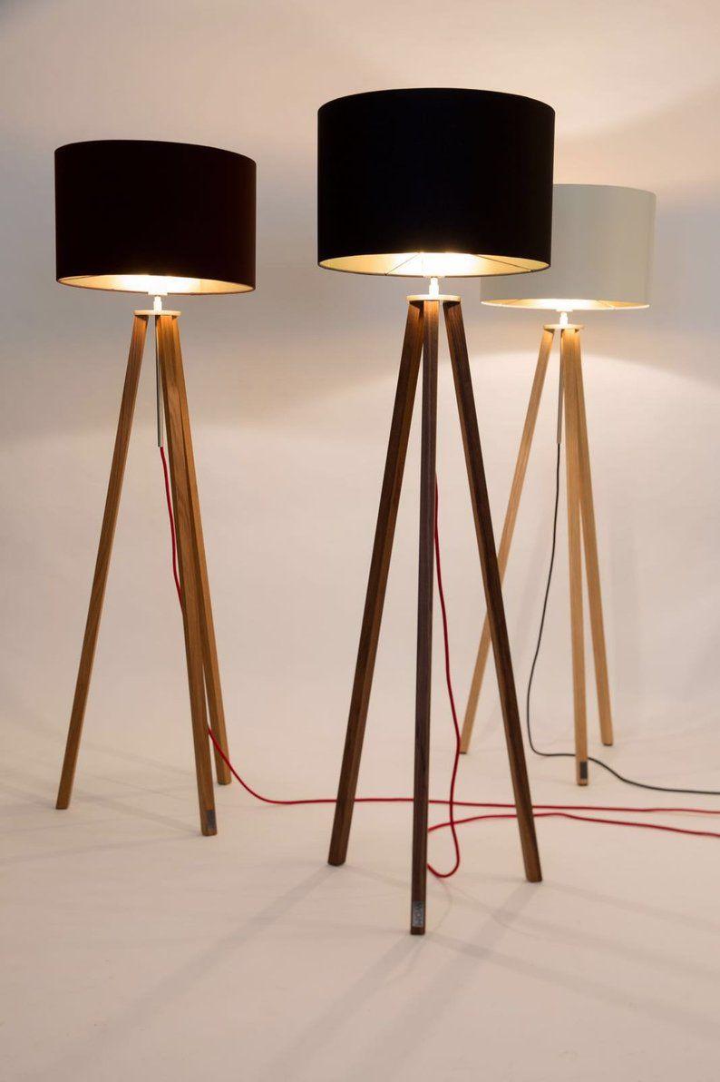 Stehlampe Tripod Bauhaus Stil Nussbaum Holz Mit Bildern
