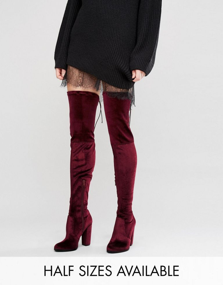ASOS KINGDOM Velvet Heeled Over The Knee Boots ucBQds