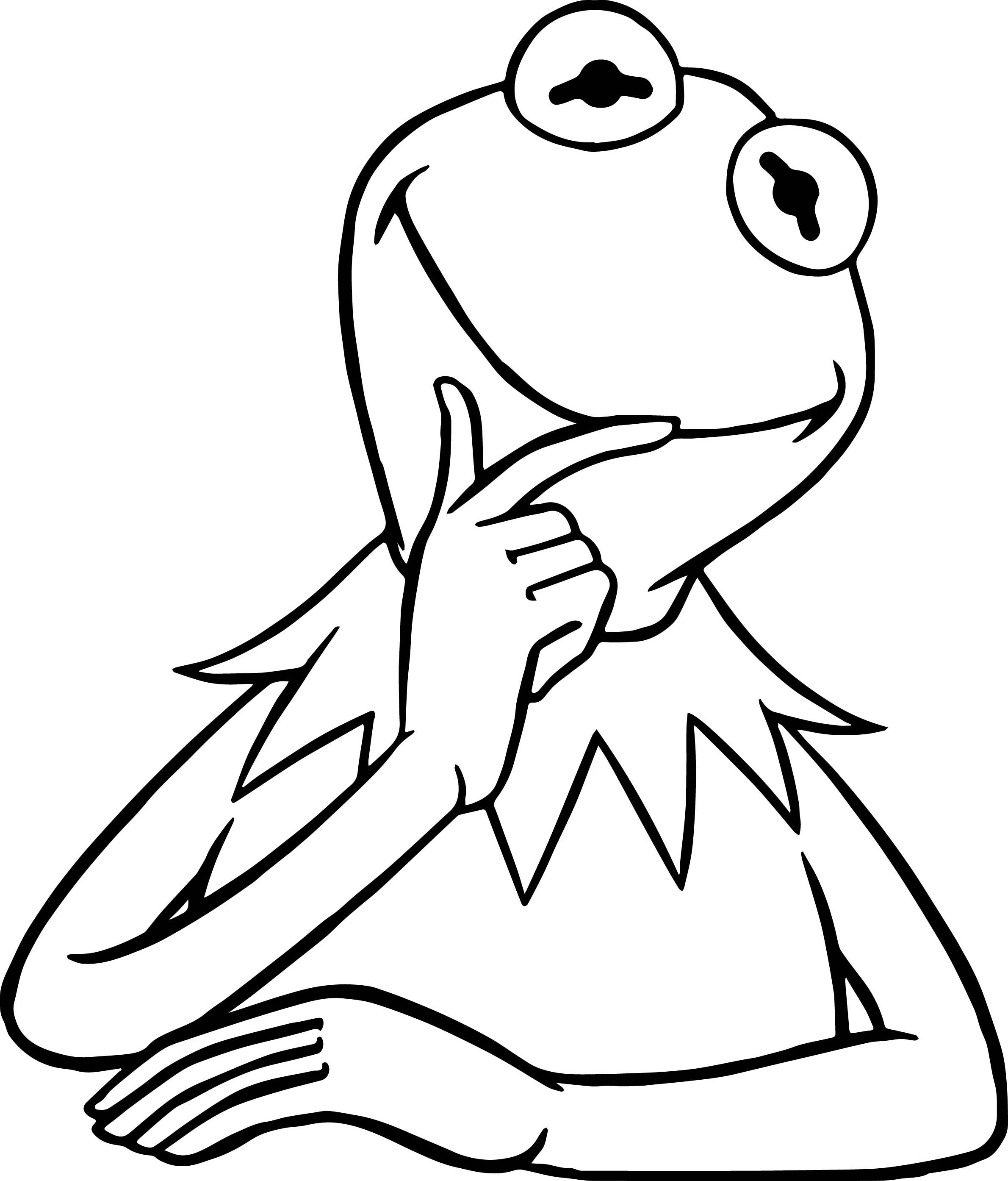 The Muppets Kermit The Frog Think Coloring Pages | Kermit