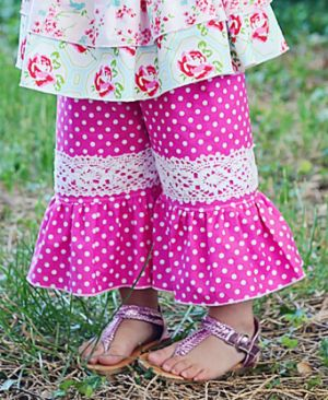 Download Jenna's Lace Ruffle Pants and Capris Sewing Pattern | What's New | YouCanMakeThis.com