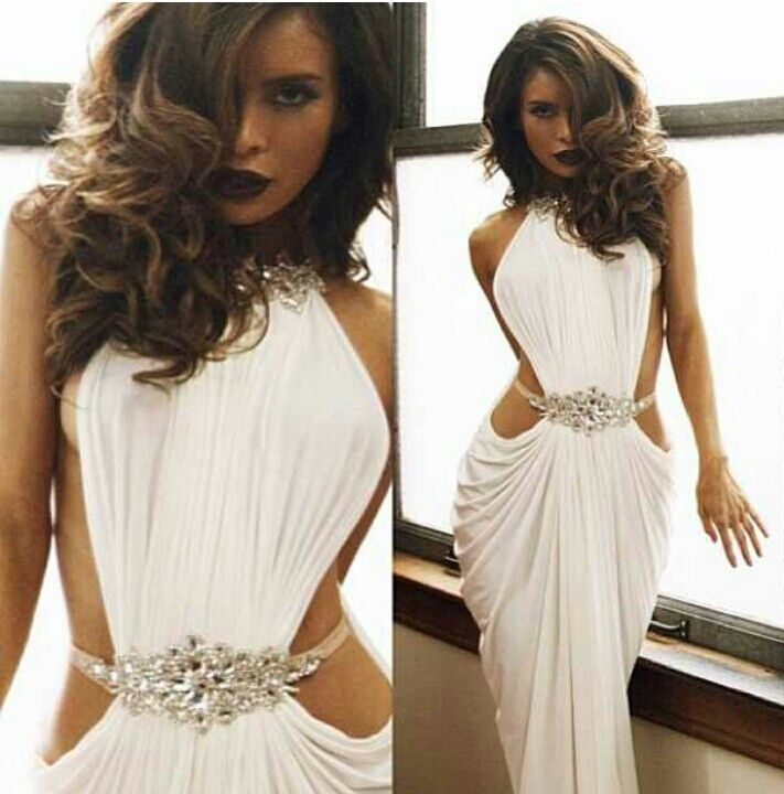 High neck evening gowns cut out sides beaded crystal michael ...