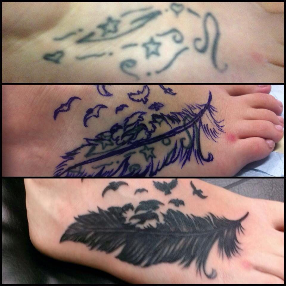 tattoo by jojo miller dynamic ink feather tattoo foot cover up bird tattoo tattoos tattoo. Black Bedroom Furniture Sets. Home Design Ideas