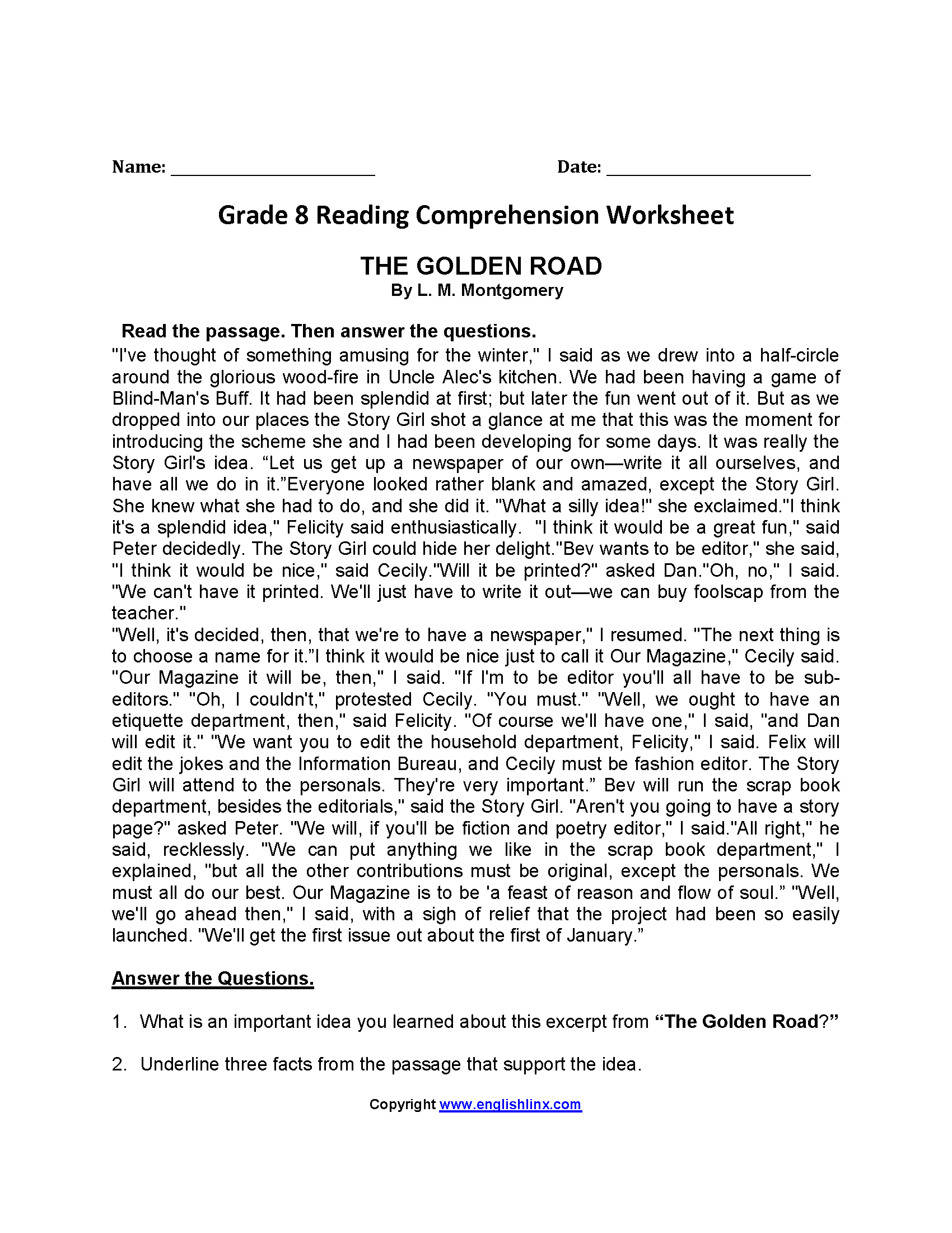 The Golden Road Eighth Grade Reading Worksheets