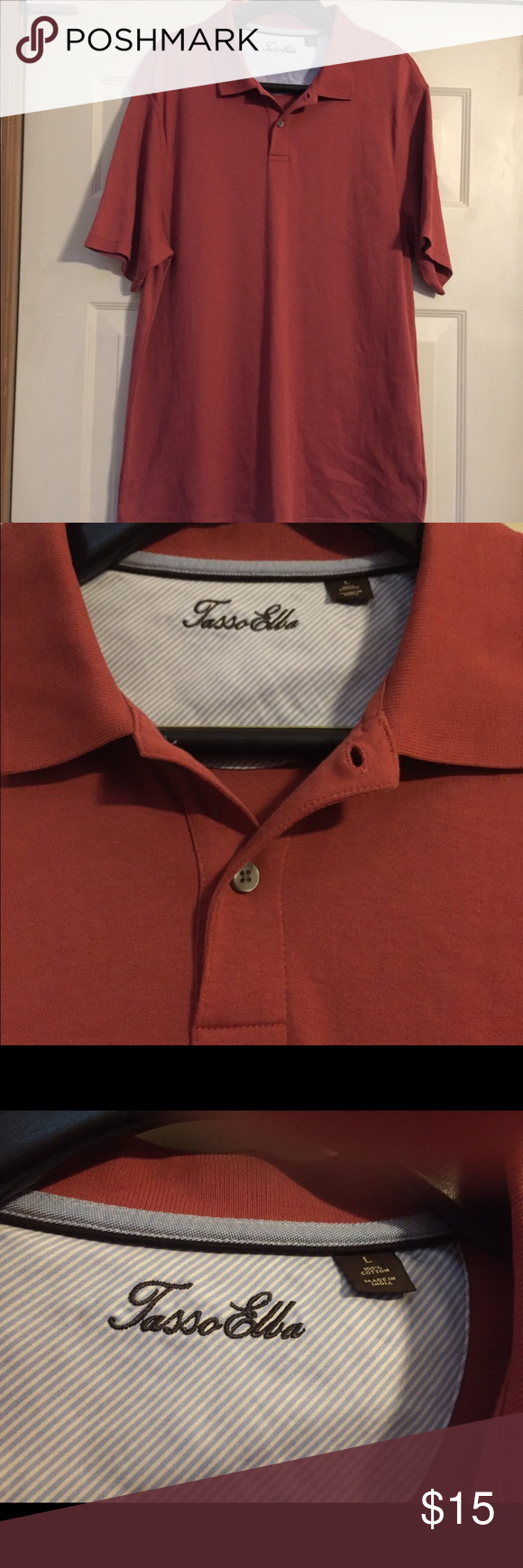 Men's Tasso Elba polo like new large Perfect condition. Smoke and pet free home. Bundle discount of 20% Tasso Elba Shirts Polos