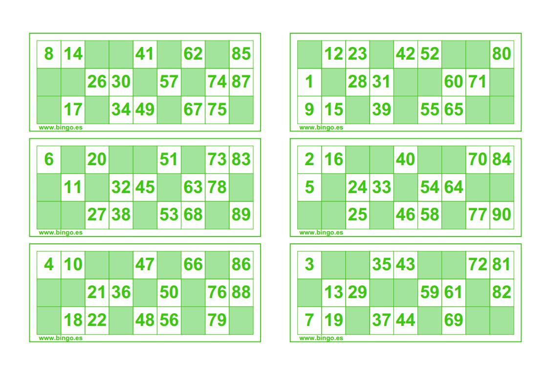 Cartones De Color Verde Bingo Para Imprimir Cartones De Bingo Bingo