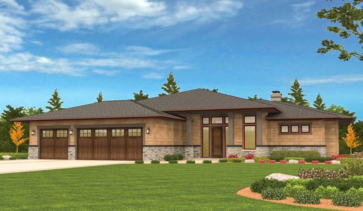 4 bed prairie ranch home with walkout basement 85126ms architectural designs house plans