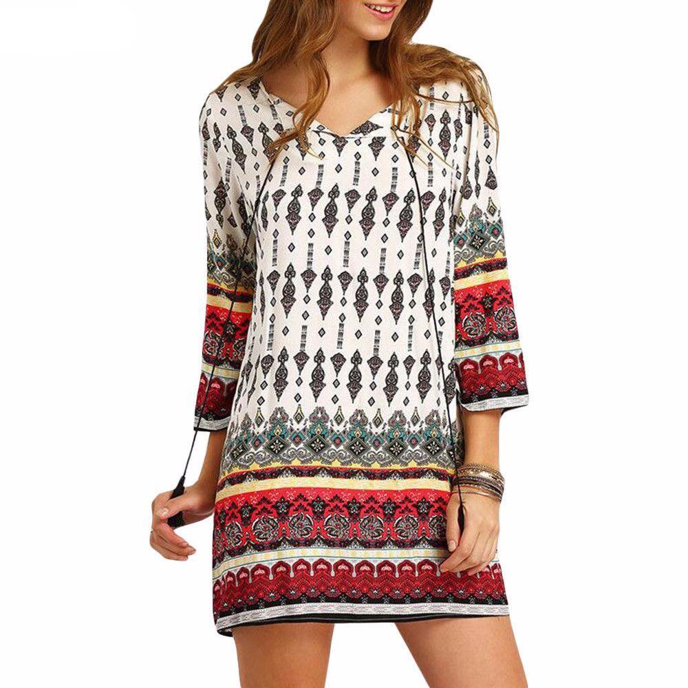 a7f36c5150 ... China dress beach Suppliers  ZANZEA Vintage Womens 2017 Summer V Neck  Sleeve Boho Floral Print Party Tunic Mini Dress Beach Sundress Vestido Plus  Size