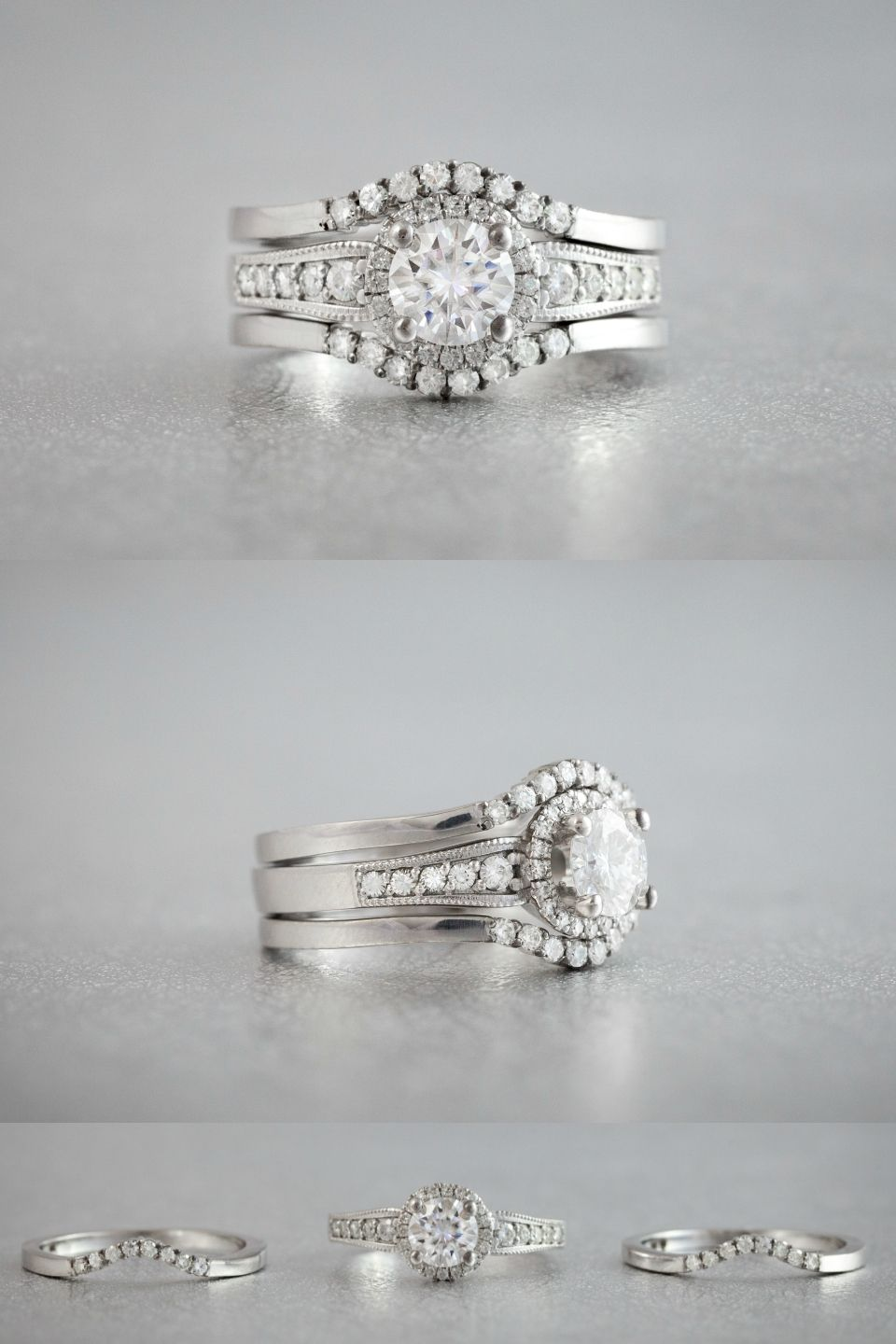 This Stunning Three Ring Set Wraps The Vintage Inspired Engagement Ring With Delicately Cu Wedding Ring Sets Vintage Three Rings Wedding Wedding Ring Enhancers