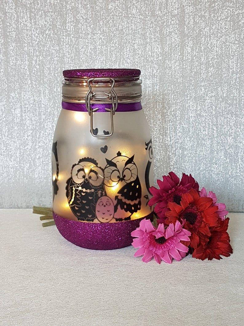 Eule Nachtlicht Fee Leuchten Jar Eule Lampe Eule Geschenk Eule Licht Eule Kinderzimmer Dekor Eule Dekor In 2020 Owl Night Light Owl Lamp Fairy Lights