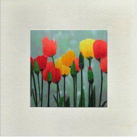 Susho, King Silk Art Handmade Silk Embroidery - Colorful tulips - White Mat Unframed Regular Size 16009W $19.99