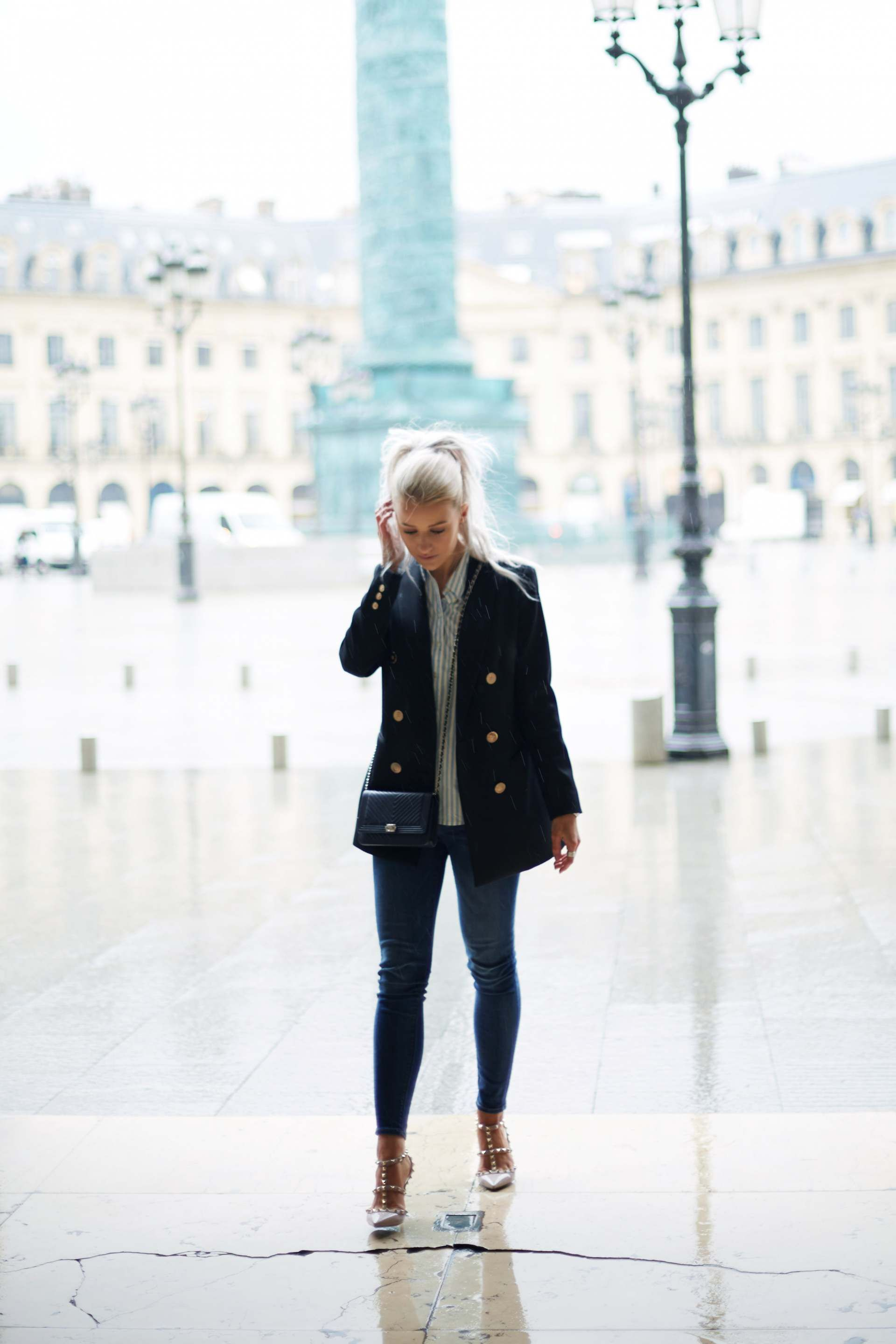 8aa1c7cdea6e inthefrow white hair curly high ponytail eiss lavinia blazer and valentino  rockstud
