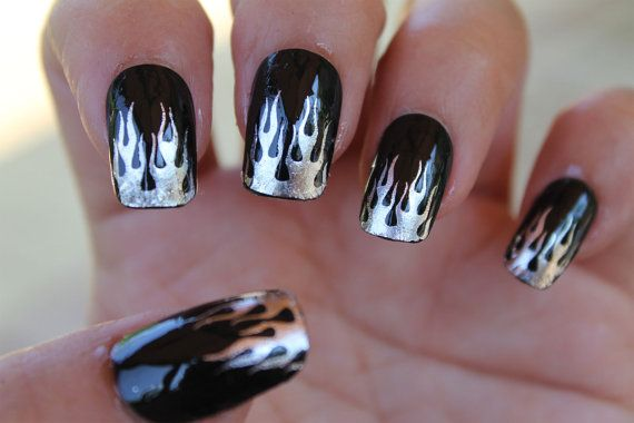 This Listing Is For A Set Of 29 Chrome Foil Flame Tips Nail Decals Harley