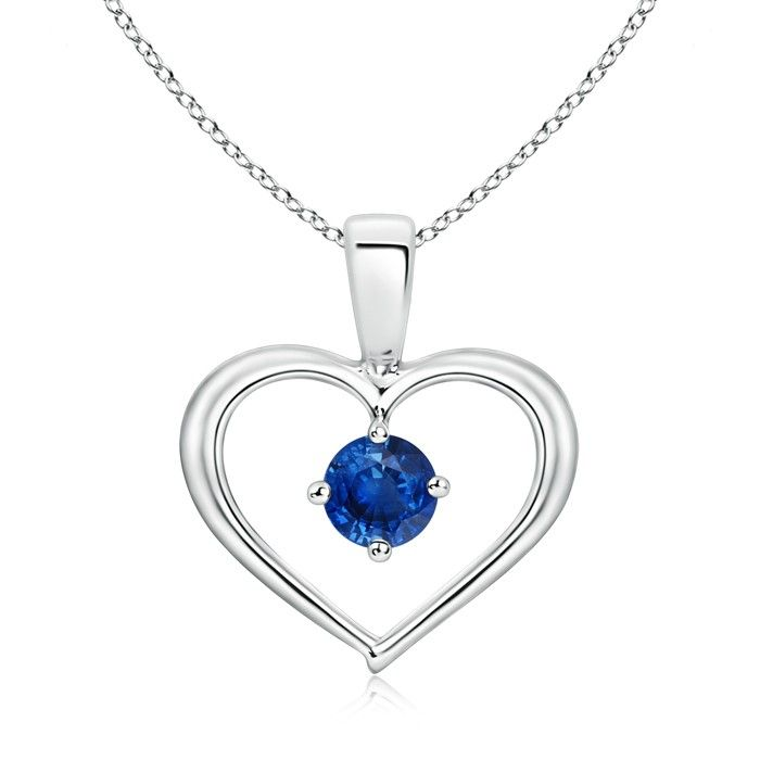 Angara Round Blue Sapphire Drop Pendant with Open Heart