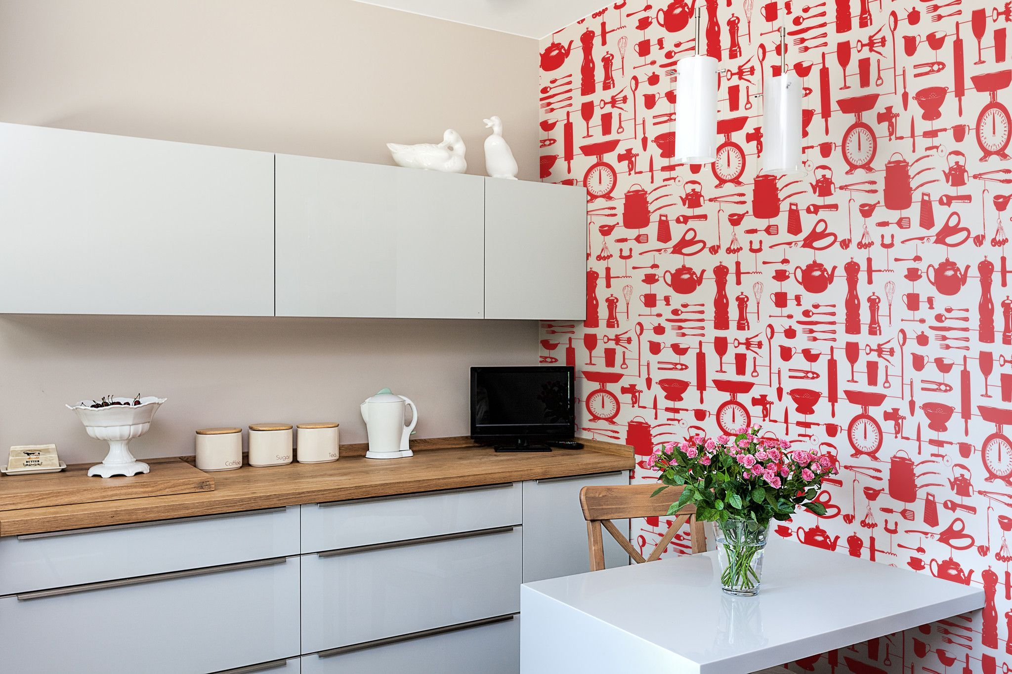 Airfix Kitchen Wallpaper in Red Kitchen wallpaper design