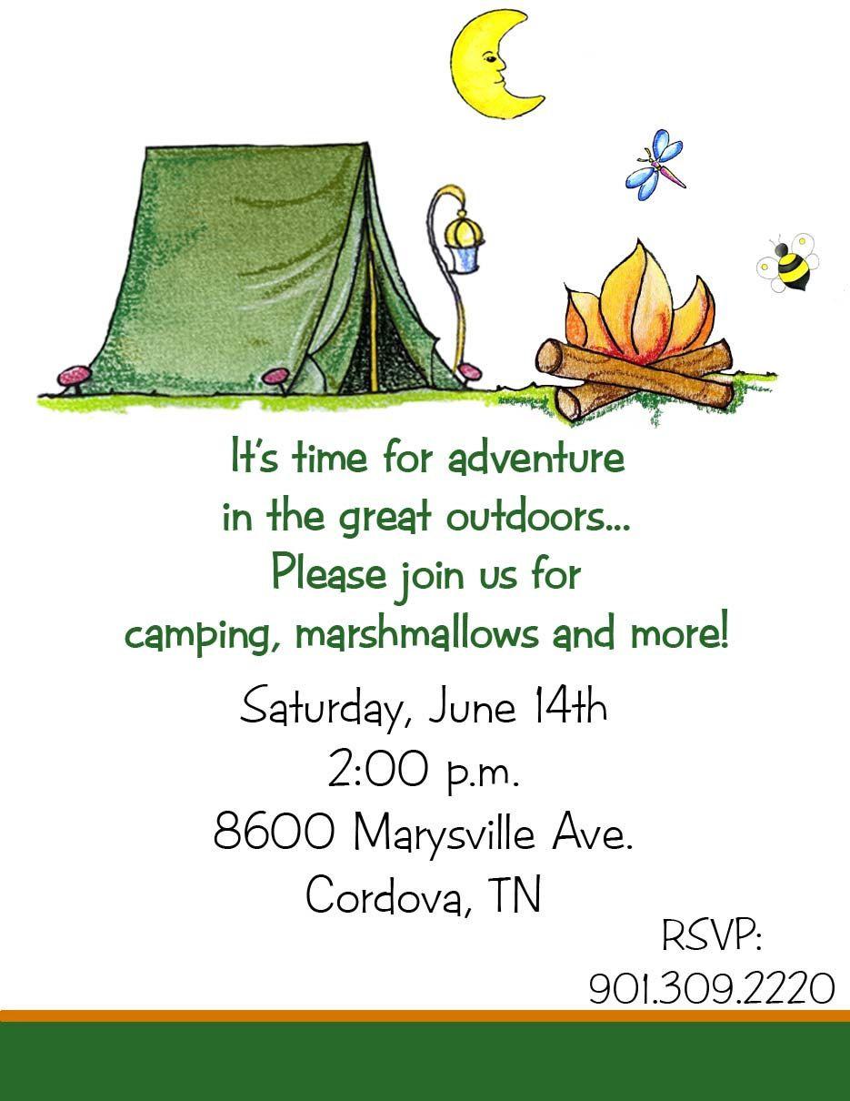 10 Camping Camp Tent Birthday Party Invitations or Printable DIY U ...