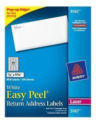 Avery Easy Peel White Return Address Labels For Laser Printers