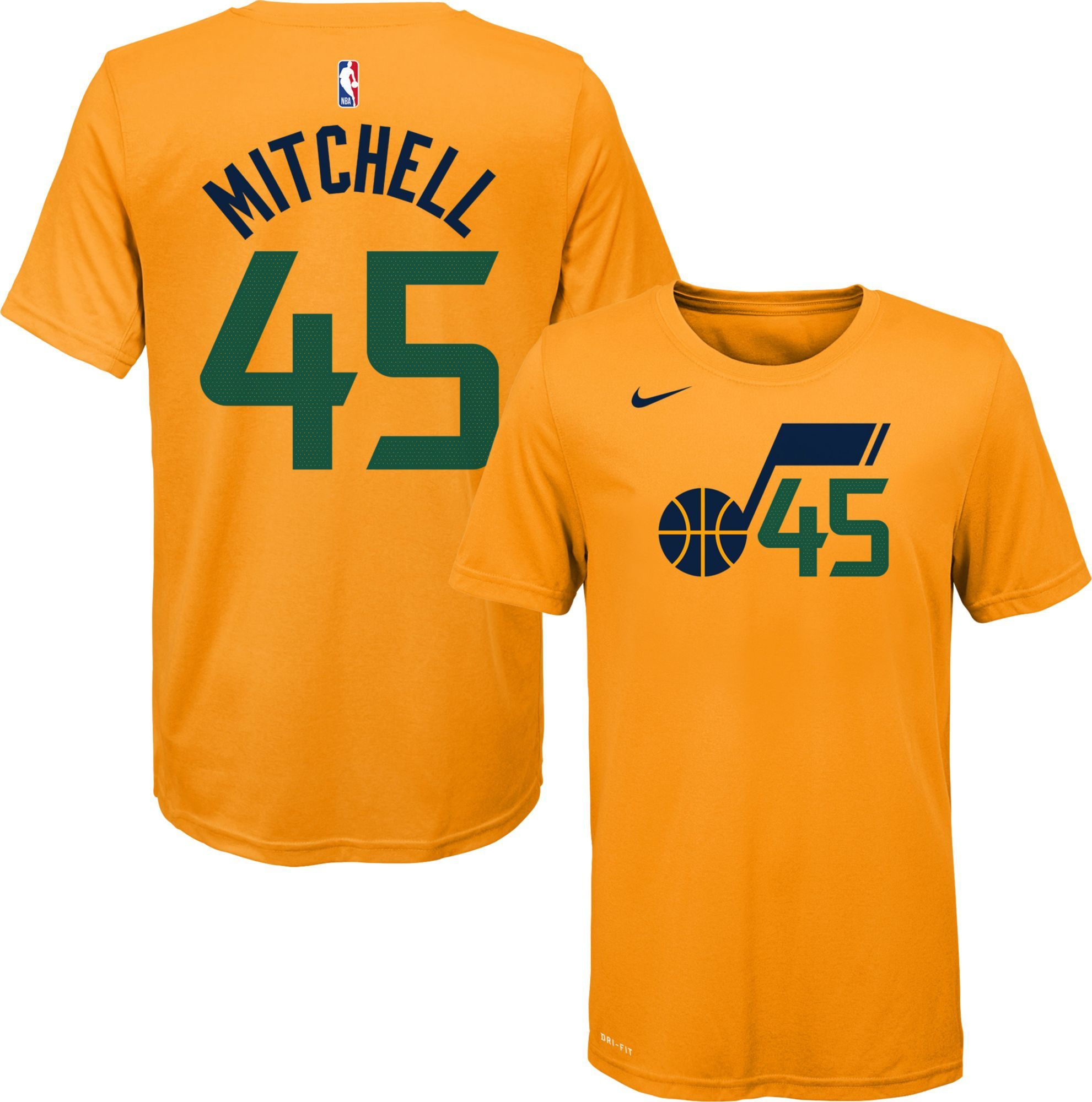 release date: 62c19 dae58 Nike Youth Utah Jazz Donovan Mitchell #45 Dri-FIT Gold T ...