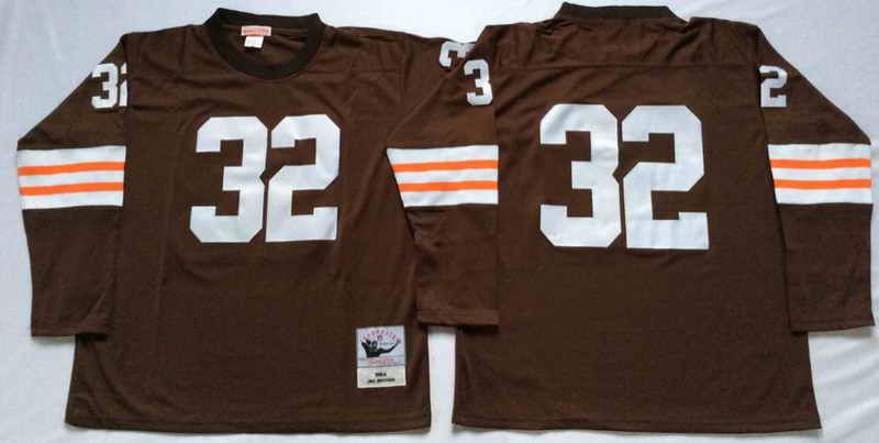 new arrivals f92f7 3a64b $22 Mitchell & Ness Cleveland Browns #32 Jim Brown Long ...
