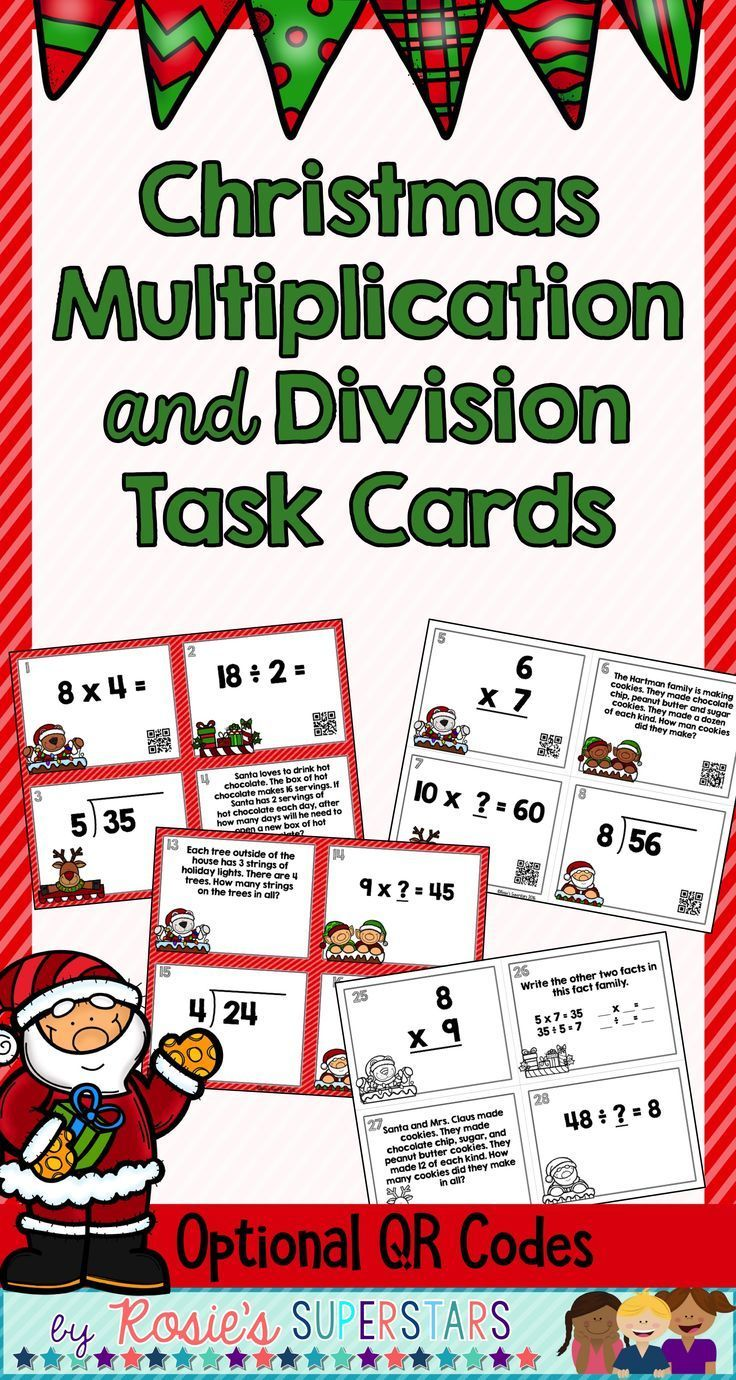 Christmas Themed Basic Multiplication and Division Task Cards with ...