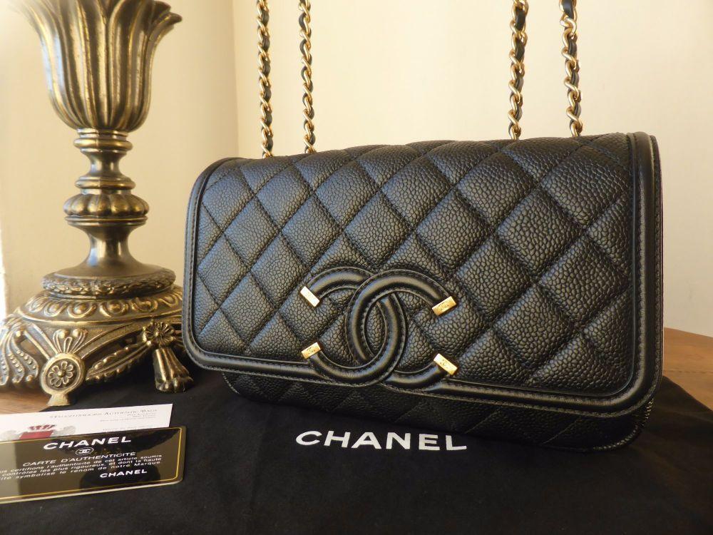 c1a345495ddd Chanel CC Filigree Small Flap Bag in Black Caviar with Brushed Gold Hardwar Chanel  CC Filigree Small Flap Bag in Black Caviar with Brushed Gold Hardwar ...