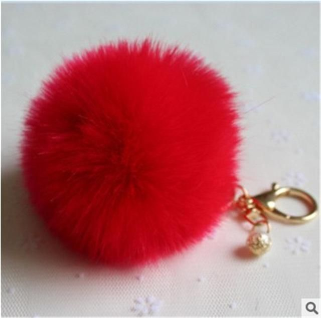 e1b57d1906 Fashion Fluffy Pompon Rabbit Fur Ball Pom Pom Keychain Pearl Key Chain  Women Bag Charm Trinket