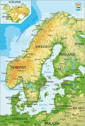 Premium Poster Skandinavien Topographische Karte Englisch