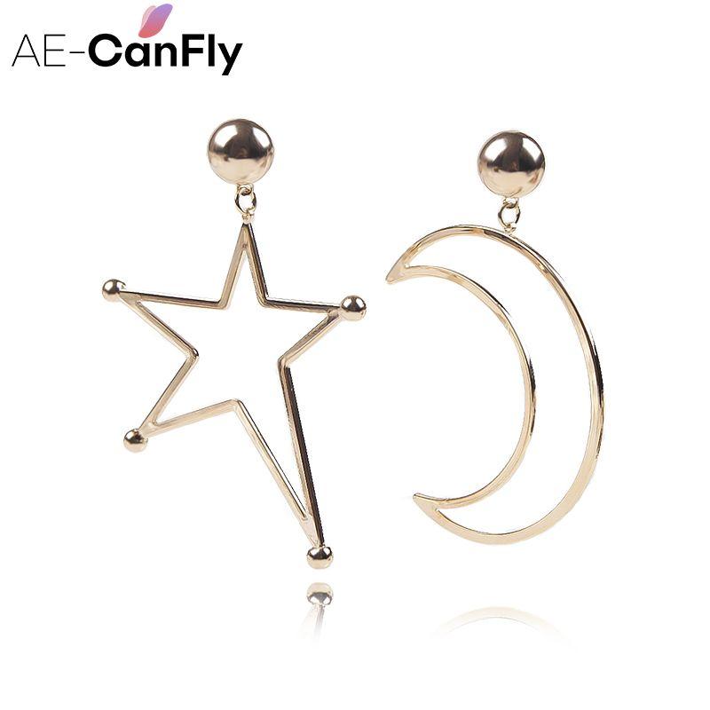 Irregular Estrella de la Luna Pendientes de Gota Cuelga Los Pendientes para Las Mujeres Oído de La Joyería de Oro de Color Plata 2A5026