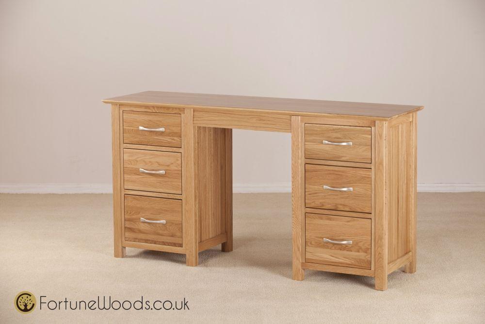 Milano Solid Oak Dressing Table Double Pedestal Online Cfs Uk