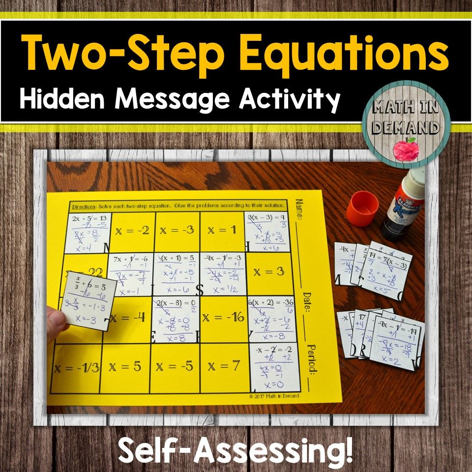 Math In Demand Two Step Equations Equations Pre Algebra Activities