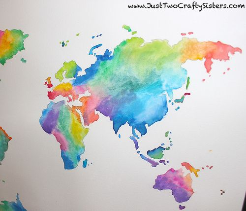 Diy Watercolor World Map Artwork Map Painting Map Artwork