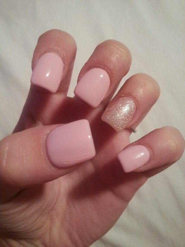 Light Pink Nails With Silver Glitter In Ring Finger
