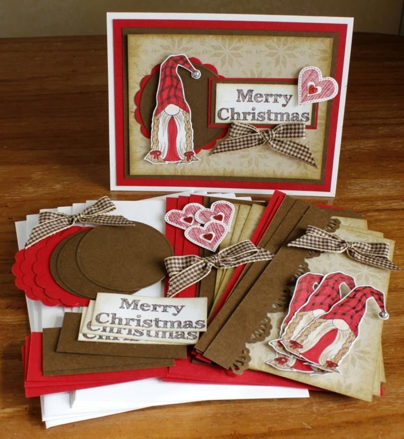 Diy Christmas Gnome Kit Christmas Cards Merry Christmas Etsy In 2021 Cute Christmas Cards Christmas Cards Etsy Handmade Card Kits