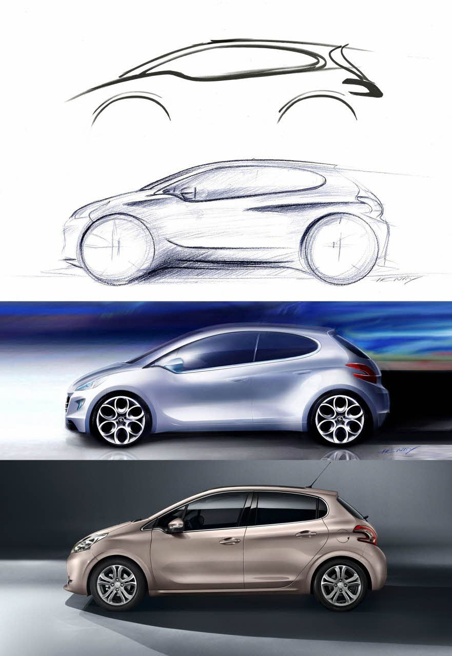 Let you body drive - Peugeot 208 | Sketch • Transportation • Side ...