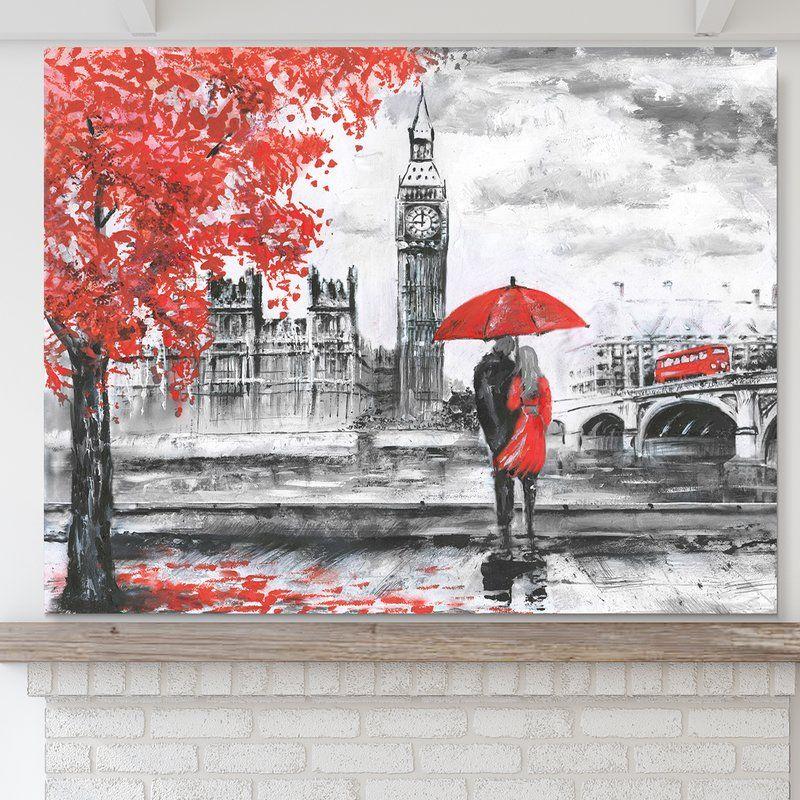 LONDON  TOWER BRIDGE RED UMBRELLAS  BUSES  PRINT ON   FRAMED CANVAS WALL ART