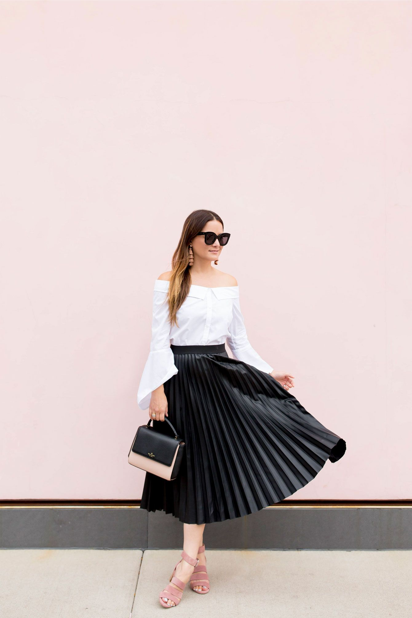 0f21a3703 Black Faux Leather Pleated Skirt at a Chicago Pink Wall | Stylist's ...